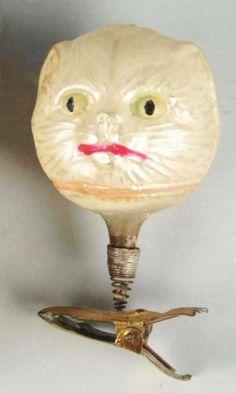 Cat head, clip-on Christmas ornament, blown glass, German