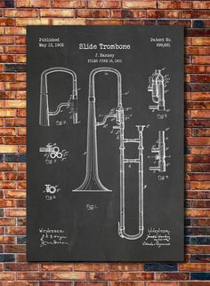 #LGLimitlessDesign  #Contest  Slide Trombone Patent Print Art 1902