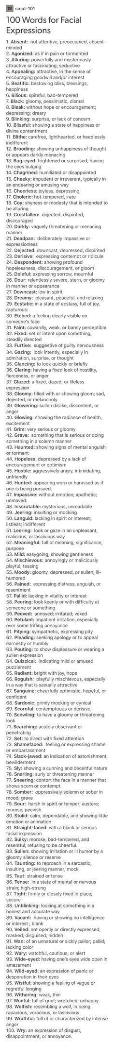 Feelings/ facial expressions