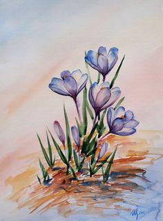 Spring crocuses by NataliSpalette on DeviantArt
