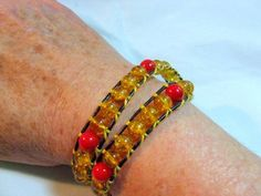 Golden Crackle Glass and Red Coral Bead 1mm Leather Wrapped Bracelet    Wyverndesigns - Jewelry on ArtFire
