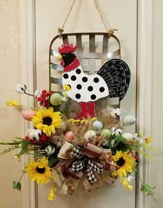 Rooster Farmhouse Door Hanger, Farmhouse Decor, Rooster, Rooster Wreath, Sunflower Wreath, Country Decor,Summer Wreath, Tobacco Basket Decor by SouthTXCreations on Etsy