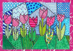 Sparkle art projects for kids Dutch tulips in the style of Romero Britto, by Malou, grade 6 Spring Art Projects, School Art Projects, Arte Elemental, 2nd Grade Art, Grade 3, Ecole Art, Artists For Kids, Middle School Art, Art Lessons Elementary