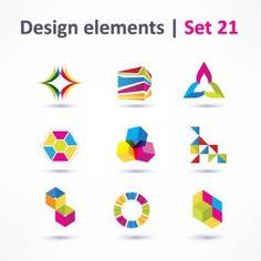 beautiful color threedimensional logo 03 vector