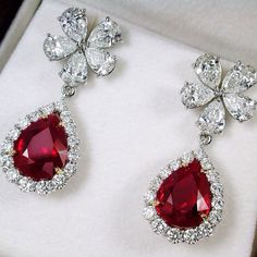 Burmese Pigeon's Blood Pear Shape Ruby weighing 4.02&4.15cts and 4.81cts with Diamonds Earrings #PrimaGems