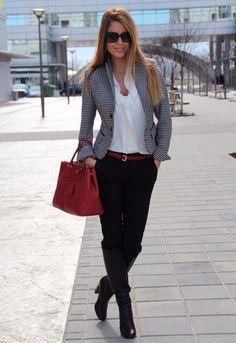 cute grey blazer and high heels style