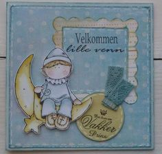Hanglar baby card by Iren S. Mikalsen. coloring distress ink.