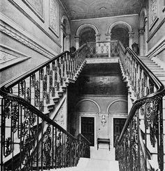 A now demolished staircase at Harewood House, Leeds. English Architecture, Georgian Architecture, Stairs Architecture, Classical Architecture, Architecture Details, Grand Staircase, Staircase Design, Manor Houses, Old Houses