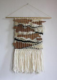 Main tissée Tenture murale tissage avec écorce naturelle