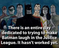 Fun Superhero Facts 27 Pics - Batman Funny - Funny Batman Meme - - Headcanon: There is an entire day dedicated to trying to make Batman laugh in the Justice League. It hasn't worked yet The post Fun Superhero Facts 27 Pics appeared first on Gag Dad. Batman Facts, Superhero Facts, Funny Batman, Marvel Dc Comics, Marvel Memes, Gotham Comics, I Am Batman, Superman, Batman Spiderman