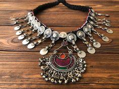 tribal Berber neckpiece Moroccan Tuareg charm choker adjustable boho tribal jewellery with brass beads