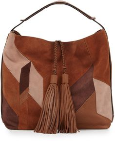 Rebecca Minkoff Isobel Mixed-Media Patchwork Hobo Bag, Almond Multi