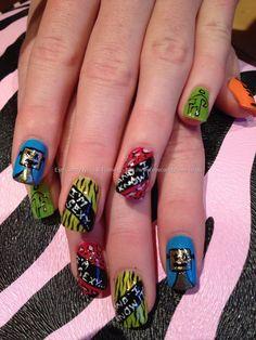 Lmfao freehand nail art