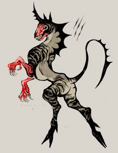 (closed) undead zebracorn by babezord on DeviantArt Monster Design, Monster Art, Creature Concept Art, Creature Design, Mythical Creatures Art, Fantasy Creatures, Cool Monsters, Creature Drawings, Creepy Art