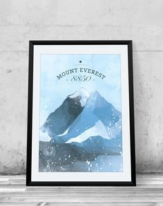 Mount Everest, Printable Poster, Himalaya, mountain poster, wall decor, illustration by EtOfficina on Etsy https://www.etsy.com/listing/172942851/mount-everest-printable-poster-himalaya