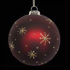 Matt Cherry Red Gold Glitter Stars Bauble 80mm | Baubles | Webbs Garden Centre