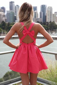 hot pink with a bow dress