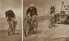 It was very cold and wet on the Aubisque climb when the riders crossed during Stage 9 of the 1931 Tour de France. Mud built-up on the wheels, adding to the burden of climbing through the clouds. In the left picture, Alphonse (Alfons) Schepers of Belgium would be first to the top of the Aubisque, and finished 8th on the stage, 20 minutes and 47 seconds after the winner. In the right picture, Gaston Rebry leads Antonin Magne to the top.