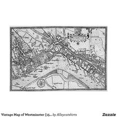 Vintage Map of Westminster (1593) Poster