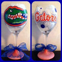 Florida Gators Wine Glass Hand Painted ~ Florida Gators Glass ~ University of Florida Gifts ~ Gators Barware ~ Christmas Gifts by WattsGoodArtistry on Etsy. Follow WattsGood Artistry on Facebook: https://www.facebook.com/wattsgoodartistrydesigns