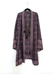 Silk Kimono jacket oversized / cocoon cover up navy blue floral on Etsy, £75.00