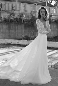 Long sleeves deep v neckline open v back heavily embellished bodice romantic bohemian soft a line wedding dress sweep train #wedding #weddings #weddingdress #weddingdresses #bridal