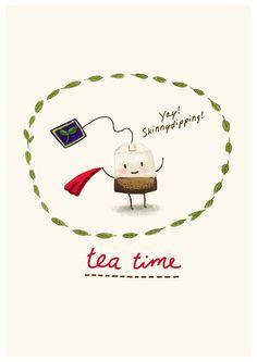 it's+Teatime++schets+digitaal+gekleurd++Art+Print++door+puikeprent,+€16,00