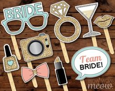 Wedding Photo Booth Props, Party Props, Champagne Bottles, Champagne Glasses, Large Diamond Rings, Bride With Glasses, Photobooth Props Printable, Team Bride, Gold Nails