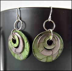 Stacked Earrings Alcohol Ink Niobium option Nested Circle Earrings, Dangle Earrings, Jewelry Ideas, Jewelry Art, Alcohol Ink Jewelry, Teen Girl Gifts, Birthday Gifts For Sister, Alcohol Inks, Gifts For Teens