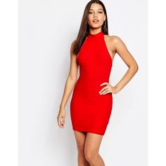 Missguided High Neck Bandage Bodycon Dress (665 ARS) ❤ liked on Polyvore featuring dresses, red, bodycon bandage dress, white cocktail dresses, bandage dress, body con dress and red bandage dress