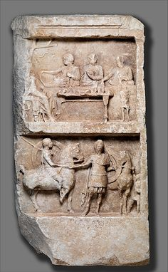 Marble grave relief with a funerary banquet and departing warriors  Greek 2th century BC