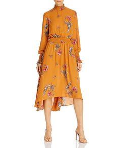 Nanette Lepore Long Sleeve Mock Neck Printed High/low Dress In Gold-tone Size 16 Dresses, Dresses Online, Dresses For Work, Gold Dress, Dress Collection, Work Wear, Evening Dresses, Nanette Lepore, Wrap Dress