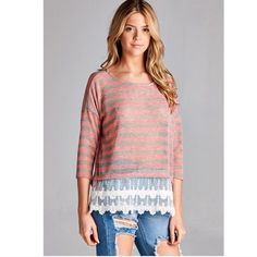 Pink lace trim top Loose fit, sheer, lightweight pink striped top with lace hem detail at the front. Very pretty transition to spring piece. Stock photos courtesy of April Spirit. April Spirit Tops Tees - Long Sleeve