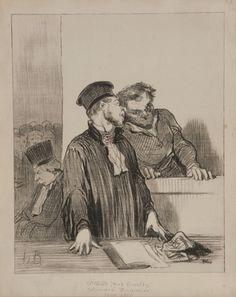 Lot 129: Two Honore Daumier Court Series Prints. Estimate: $200-$300.
