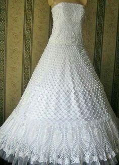 free hand crochet wedding gown   CROCHET PATTERN FOR WEDDING DRESS ...