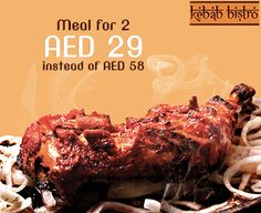 Wondering what to have for dinner tonight?  Indulge your taste buds in a Meal for 2 that includes one portion of a kebab of your choice, 2 tawa parathas and 2 desserts. All for just AED 29 with RAKBANKdeals.ae!