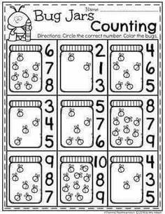Activities Spring Preschool Worksheets with Bugs - Firefly Counting.Spring Preschool Worksheets with Bugs - Firefly Counting. Preschool Printables, Preschool Lessons, Preschool Worksheets, Preschool Learning, In Kindergarten, Preschool Bug Theme, Preschool Class, Pre K Activities, Educational Activities