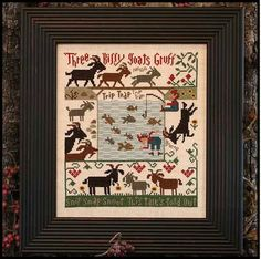 cross stitch pattern : three billy goats gruff the prairie schooler nursery rhymes counted cross stitch diy. $9.00, via Etsy.