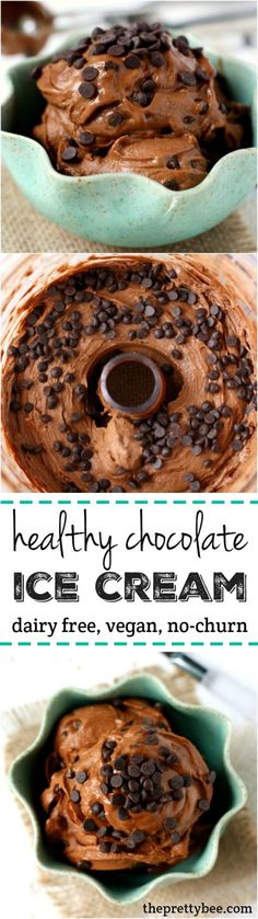 This double chocolate ice cream is dairy free and made without an ice cream maker! An easy and healthy ice cream recipe.