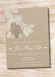 RUSTIC PINECONE FIR Shower Invitation    Perfect shower invitation for the winter bridal showers and baby showers.    >>> HOW IT WORKS