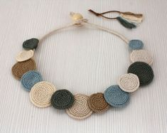 Necklace Circles Crochet Necklace Statement Necklace by stasiSpark