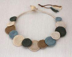 Necklace Circles Crochet Necklace Statement Necklace by stasiSpark