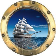 Sticker porthole trompe l/'oeil boat 40x40cm ref h303