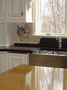custom designed mosaic backsplash enhances black concrete counter and : ideas mosaic wall