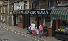 Florists Floral and Hardy came fourth in the poll and a fish-and-chip shop with the name A Fish Called Rhondda rounded out the top five Fish And Chip Shop, Florists, Fish And Chips, Business Names, Signs, Floral, Top, Spinning Top, Floral Shops