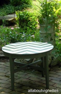 All About Vignettes: What I Learned About Painting a Chevron Pattern.getting ready to do this to a table.wish me luck Chevron Furniture, Chalk Paint Furniture, Home Projects, Home Crafts, Diy Crafts, Decoupage, Paint Chevron, Painted End Tables, Chevron Patterns