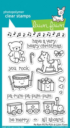 pa-rum-pa-pum-pum | Lawn Fawn  sentiment with drummer boy stamp in stash
