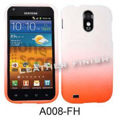 Unlimited Cellular Snap-On Cover for Samsung Galaxy S2 Epic 4G D710/R760 (Leather Finish Two Tone, White and Orange)