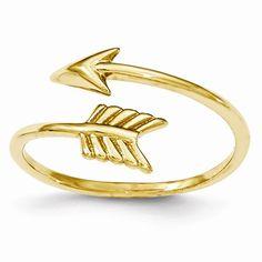 14k Yellow Gold Adjustable Arrow Ring Band K5779