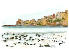 Castellammare Del Golfo marina, on the northwest coast of Sicily, Italy. Sketch with copic markers. Sketch Markers, Copic Markers, Pretty Landscapes, Pen And Wash, Nature Sketch, Sketch Journal, Sicily Italy, Nature Journal, Urban Sketching